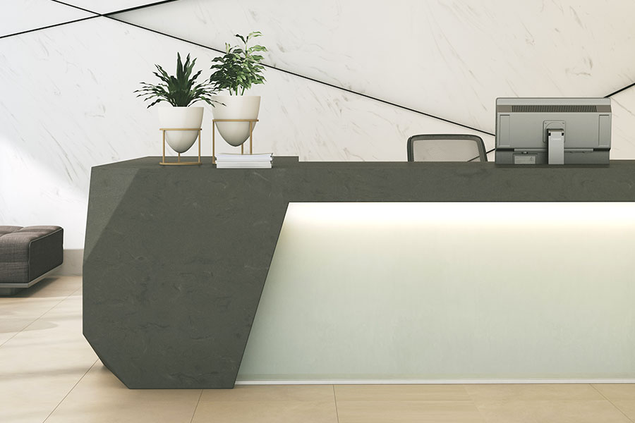 meganite concrete modern lobby desk design M23